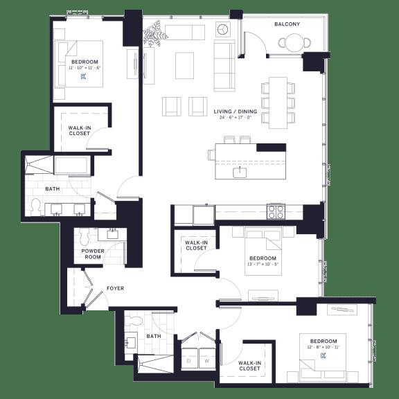 Lincoln Common Dayton (1833) Three Bedroom Floor Plan