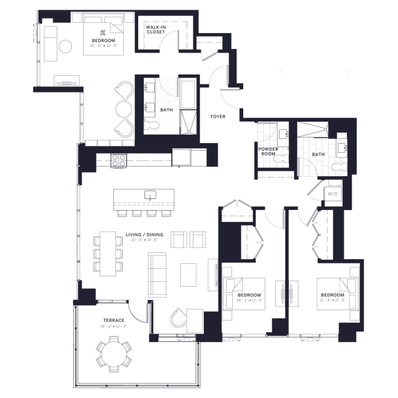 Lincoln Common Kingsbury Three Bedroom Floor Plan South Tower