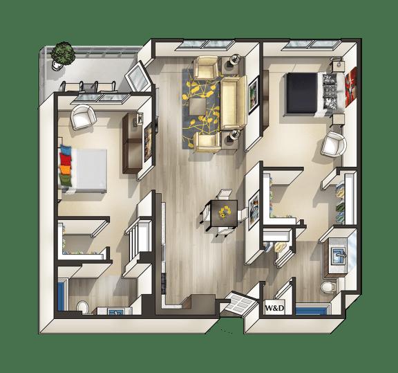 Floor Plan  H - 2 Bedroom 2 Bath Floor Plan Layout - 1045 Square Feet