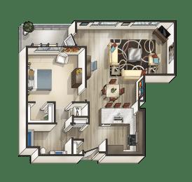 F - 1 Bedroom 1 Bath Floor Plan Layout - 915 Square Feet