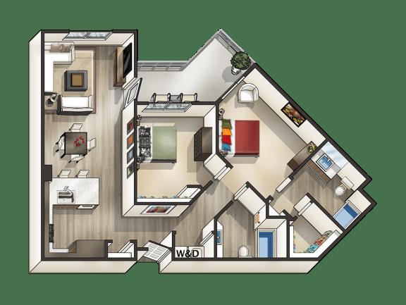 Floor Plan  J - 2 Bedroom 2 Bath Floor Plan Layout - 1080 Square Feet