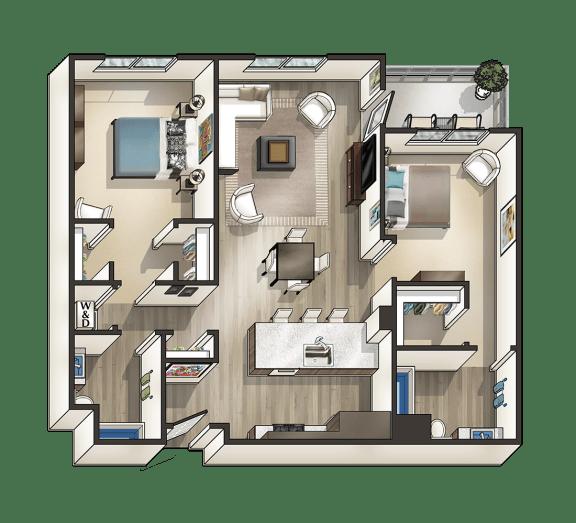 Floor Plan  K - 2 Bedroom 2 Bath Floor Plan Layout - 1095 Square Feet