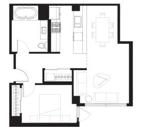 Howard - 1 Bedroom 1 Bath Floor Plan Layout - 681 Square Feet