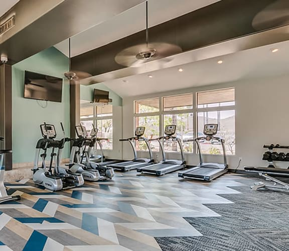 Community fitness center with cardio equipment and weights