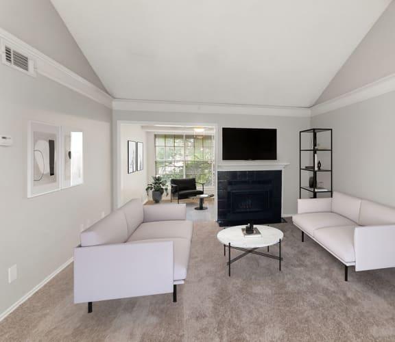 Model living room at Cobblestone Apartments.