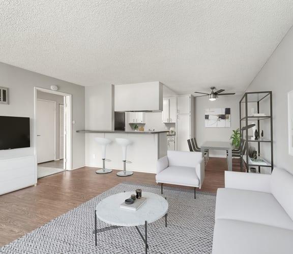 Model living room at Cove la Mesa Apartments.