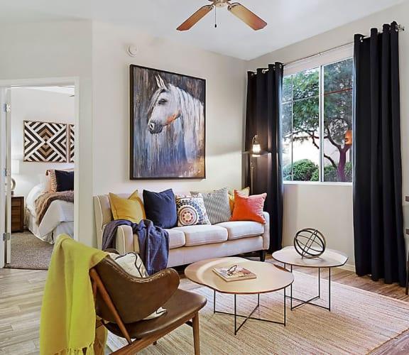 Model Living Room at Equestrian Apartments