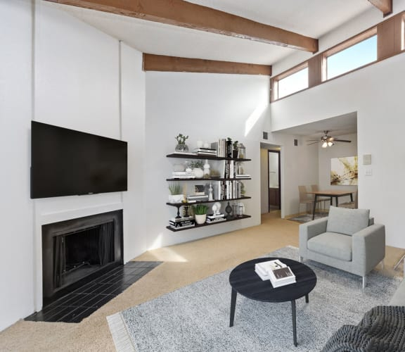 Model living room at Pembrooke on the Green Apartments