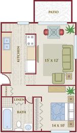 Floor Plan  Heights on Huron 1 bedroom 1 bath floor plan