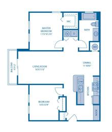Two Bedroom Floor Plan at Horizon at Miramar, Miramar