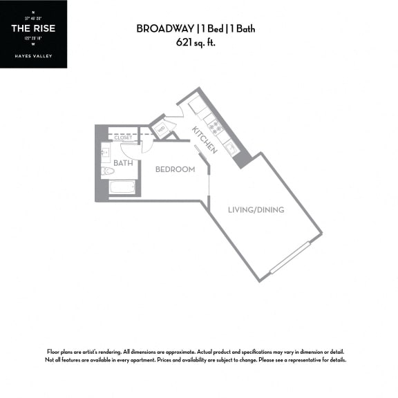 Floor Plan  The Rise Hayes Valley Broadway 1x1