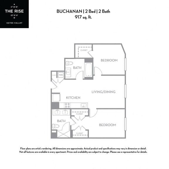 Floor Plan  The Rise Hayes Valley|Buchanan|2x2