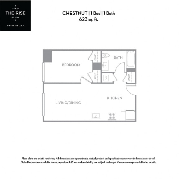 Floor Plan  The Rise Hayes Valley|Chesnut|1x1