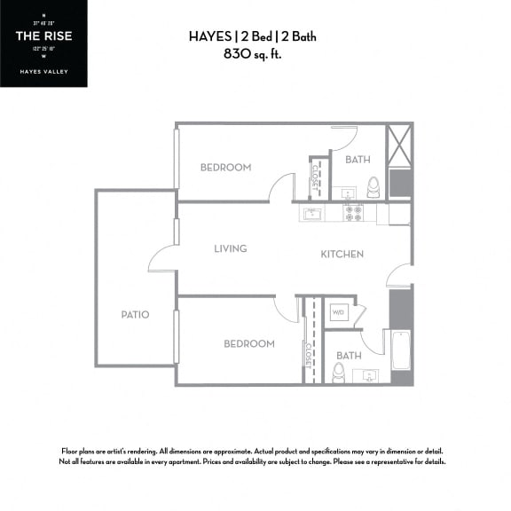 Floor Plan  The Rise Hayes Valley Hayes 2x2