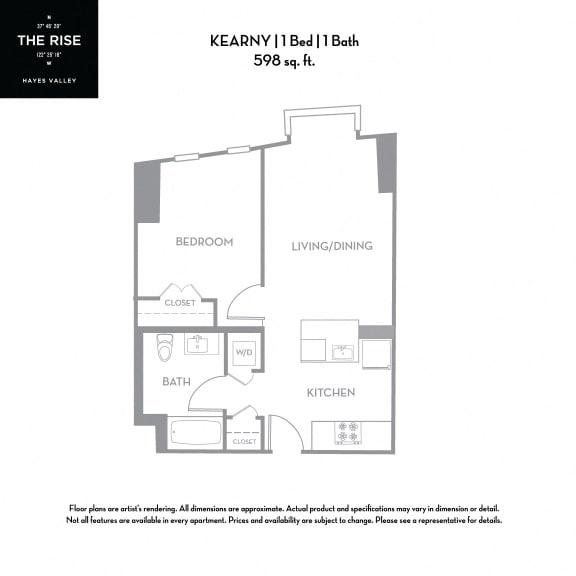 Floor Plan  The Rise Hayes Valley Kearny 1x1