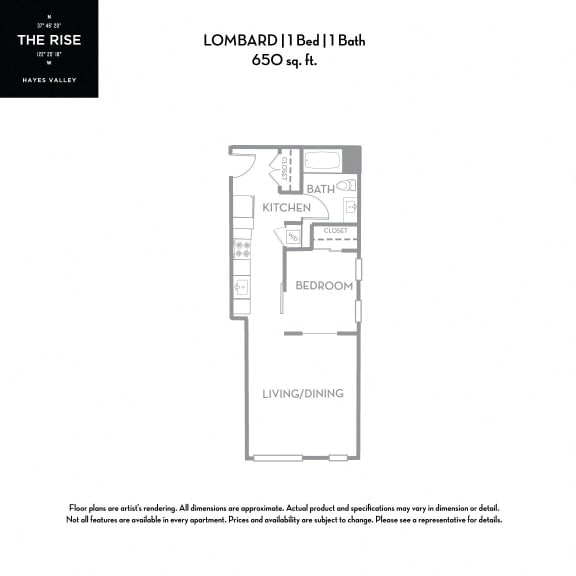 Floor Plan  The Rise Hayes Valley Lombard 1x1