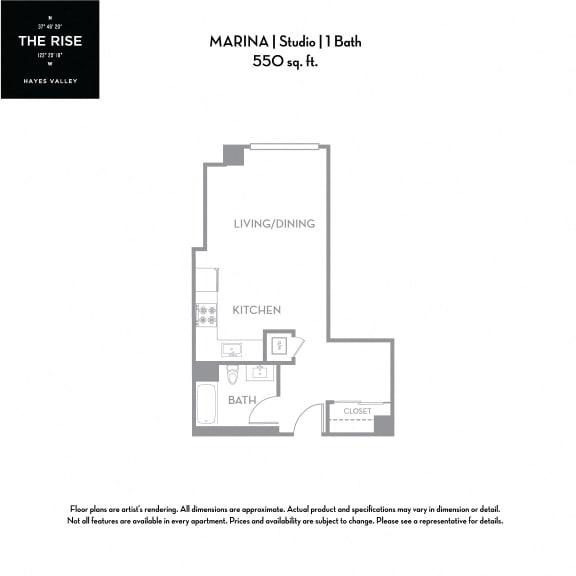 Floor Plan  The Rise Hayes Valley|Marina|Studio/1