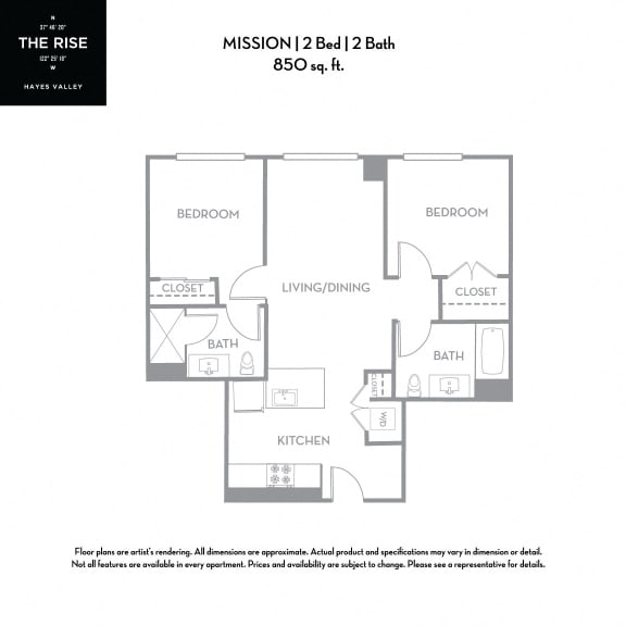 Floor Plan  The Rise Hayes Valley Mission 2x2