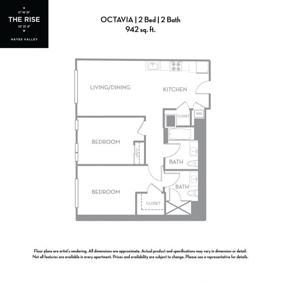 Floor Plan  The Rise Hayes Valley|Octavia|2x2