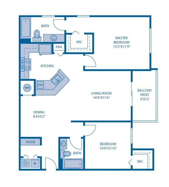 Floor Plan  Two Bedroom Floor Plan at Horizon at Miramar, Florida