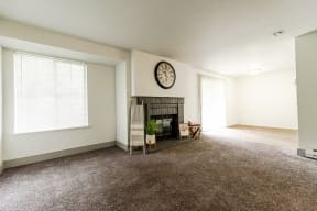 Lakewood Apartments - Crown Pointe Apartments - Living Room and Fireplace