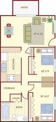 Heights on Huron 2 bedroom 1 bath floor plan
