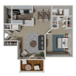 Addison 1 Bedroom 1 Bath Floorplan at Crestmark Apartment Homes, Lithia Springs, GA, 30122