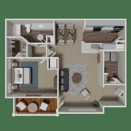 August 1 Bedroom 1 Bath Floorplan at Crestmark Apartment Homes, Lithia Springs, 30122