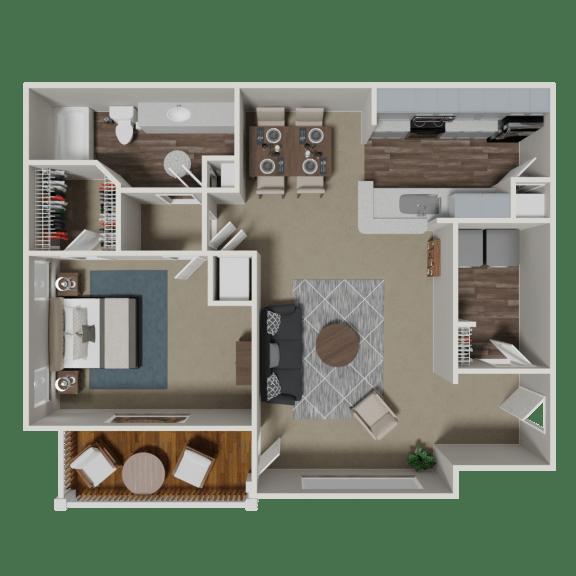 Floor Plan  August 1 Bedroom 1 Bath Floorplan at Crestmark Apartment Homes, Lithia Springs, 30122