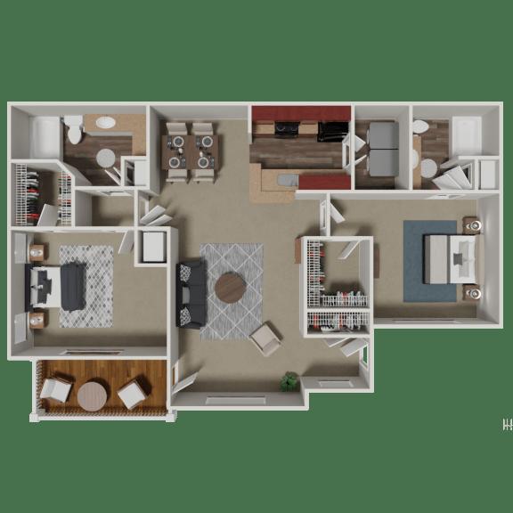 Floor Plan  Bradford 2 Bedroom 2 Bath Floorplan at Crestmark Apartment Homes, Georgia, 30122
