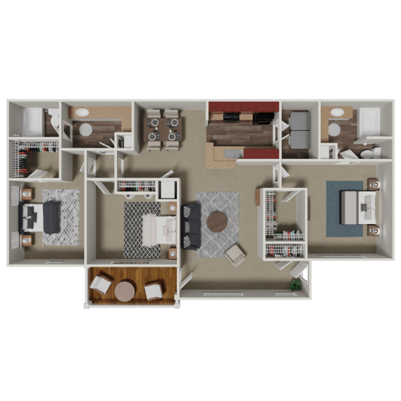 Floor Plan  Clairmont 3 Bedroom 2 Bath Floorplan at Crestmark Apartment Homes, Lithia Springs, GA