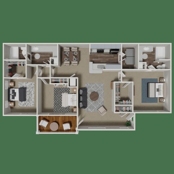 Clairmont 3 Bedroom 2 Bath Floorplan at Crestmark Apartment Homes, Lithia Springs, GA