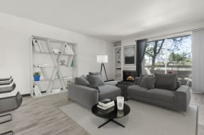 Living area with Built-in Shelves