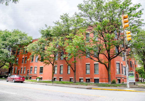 Street view of building at Lockerbie Court on Mass Ave, 459 Massachusetts Avenue, Indianapolis