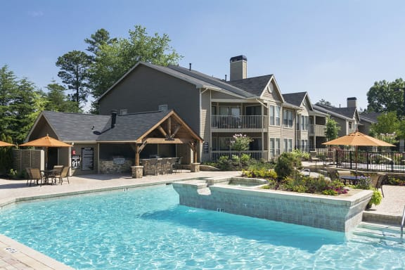 Two Sparking Pools with Spa/ Hot Tub at Apartments for Rent in Duluth GA