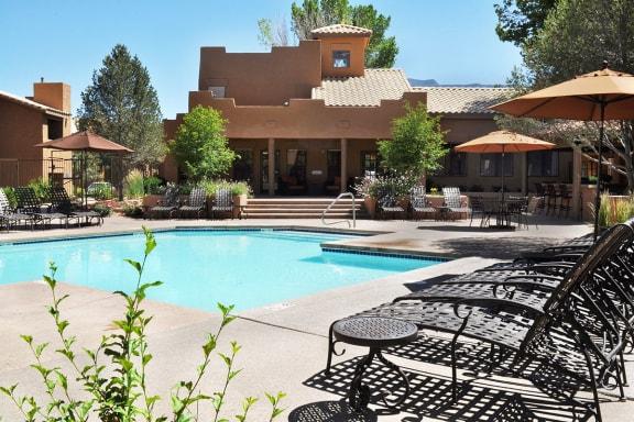 Two Swimming Pools at Apartments near Sandia Mountains