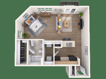 One bedroom one bathroom floor plan at The Beverly Austin