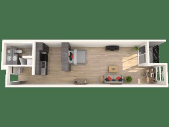 Flat - 0 Bedroom 1 Bath Floor Plan Layout - 711 Square Feet