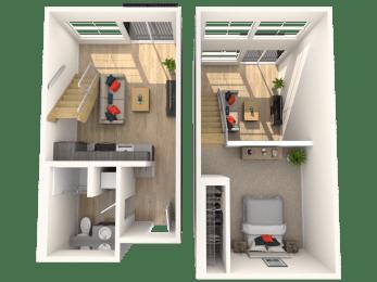 2 Story Loft - 1 Bedroom 1 Bath Floor Plan Layout - 570 Square Feet