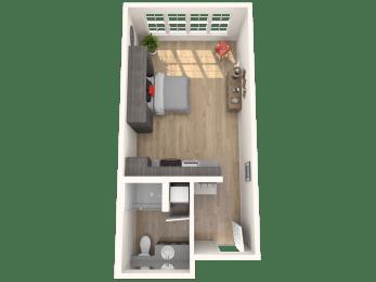 Studio - 0 Bedroom 1 Bath Floor Plan Layout - 452 Square Feet