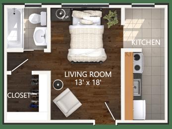 Large Studio Floor Plan at Connecticut Plaza Apartments in Washington, DC