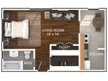 Small Studio Floor Plan at Connecticut Plaza Apartments. Connecticut Ave NW