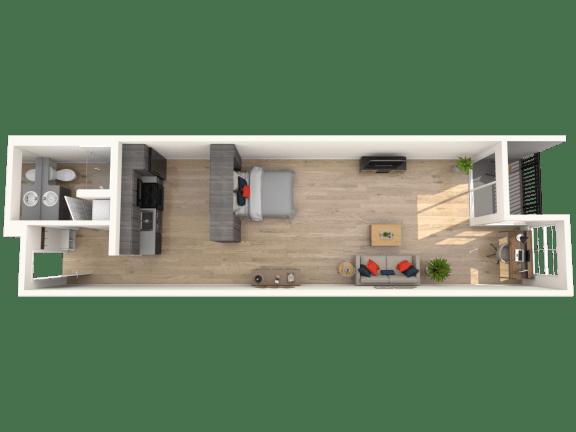 Floor Plan  Flat - 0 Bedroom 1 Bath Floor Plan Layout - 711 Square Feet
