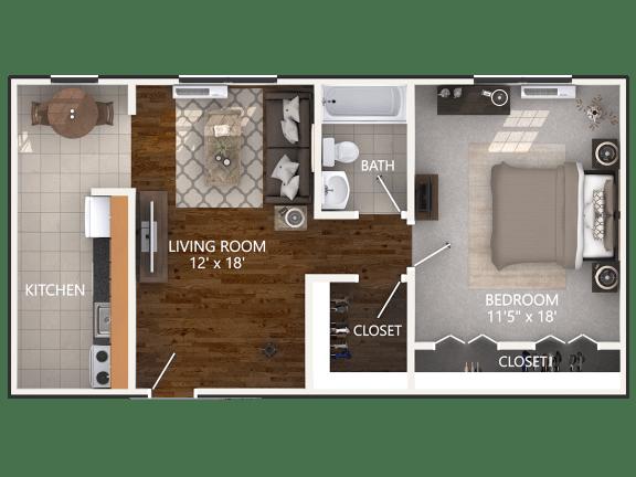 Floor Plan  1 Bedroom Floor Plan at Connecticut Plaza Apartments in Washington, District of Columbia