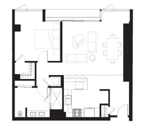 Bluxome - 1 Bedroom 1 Bath Floor Plan Layout - 847 Square Feet