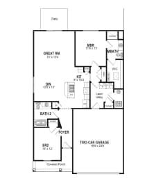 Floor Plan 2 Bedroom Ranch