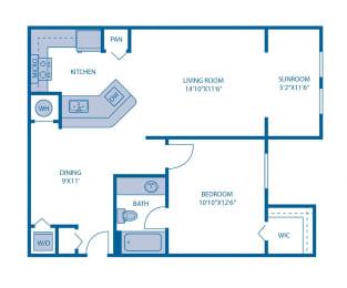 One Bedroom Floor Plan at Horizon at Miramar, Miramar, FL