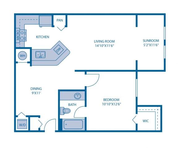 Floor Plan  One Bedroom Floor Plan at Horizon at Miramar, Miramar, FL