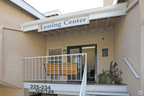 Banner sign indicating entrance to Leasing Office