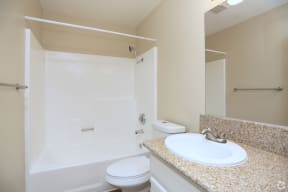 Bathroom with shower curtain option